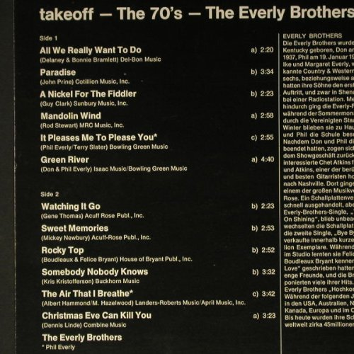 Everly Brothers: The 70's - Take Off, Ri, RCA(CL 42650), D, 1979 - LP - C5663 - 5,00 Euro