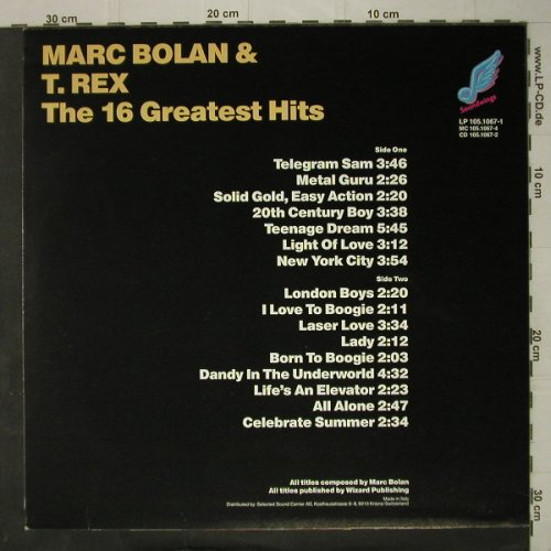 Bolan,Marc & T.Rex: The 16 Greatest Hits, Ri, Soundwings(105.1067-1), I, 1989 - LP - C7756 - 7,50 Euro
