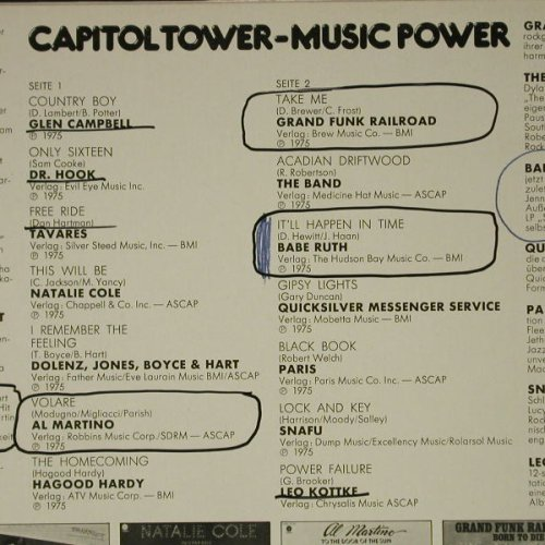 V.A.Capitol Tower-Music Power: 14Tr, No.0645,Lim.Ed., m-/vg+, Capitol(F 665 641), D,Promo,  - LP - C8536 - 5,00 Euro