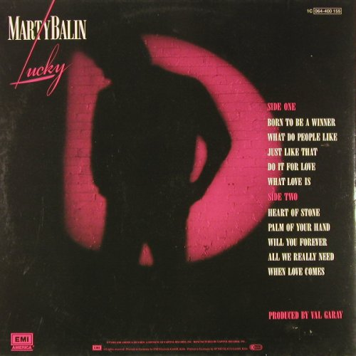 Balin,Marty: Lucky, EMI(064-400 155), D, 1983 - LP - C9025 - 3,00 Euro