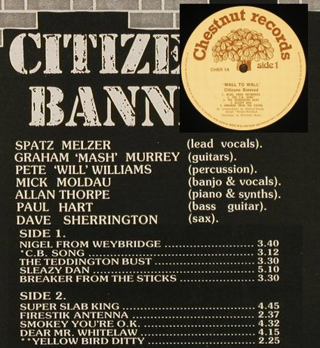 Citizens Banned: Wall To Wall, Chestnut(CHER 1), UK, 1981 - LP - C9204 - 5,50 Euro