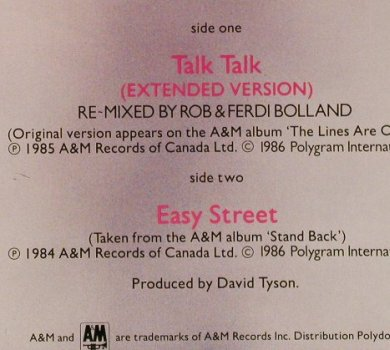Arrows: Talk Talk(ext)/Easy Stree, AM(392 059-1), D, 1984 - 12inch - E1301 - 1,00 Euro