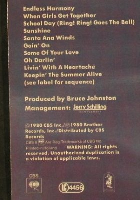 Beach Boys: Keepin'The Summer Alive, CBS(86109), NL, 1980 - LP - E1781 - 6,50 Euro