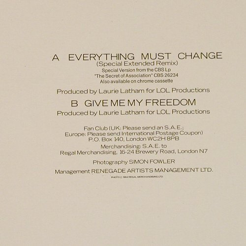 Young,Paul: Everything Must Change+1,sp.ext.mix, CBS(A 12-4972), NL, 1984 - 12inch - E2208 - 2,00 Euro
