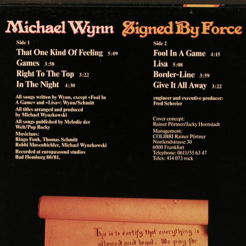 Wynn,Michael: Signed By Force, RCA(PL 28467), D, 1981 - LP - E3338 - 6,00 Euro