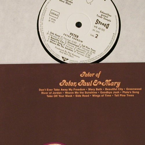 Yarrow,Peter (of Peter,Paul & Mary): Peter, wh.Muster, WB(WB 46 150), D, 1972 - LP - E3560 - 12,50 Euro