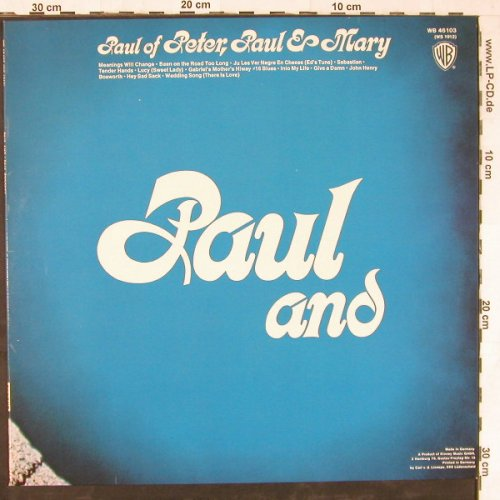 Stookey,Paul (of Peter,Paul & Mary): Paul And, whMuster, WB(WB 46 103), D,  - LP - E3562 - 12,50 Euro