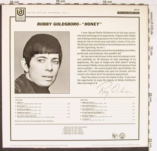 Goldsboro,Bobby: Honey, UA(669 164), D, 1968 - LP - E4298 - 6,50 Euro