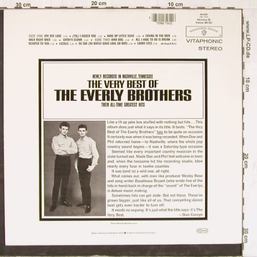 Everly Brothers: The Very Best Of,  newly recorded, WB(46 008), D,  - LP - E4580 - 5,00 Euro