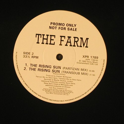 Farm,the: The Rising Sun *4(mix),LC, Promo, Sony(XPR 1789), UK, 1992 - 12inch - E495 - 1,50 Euro