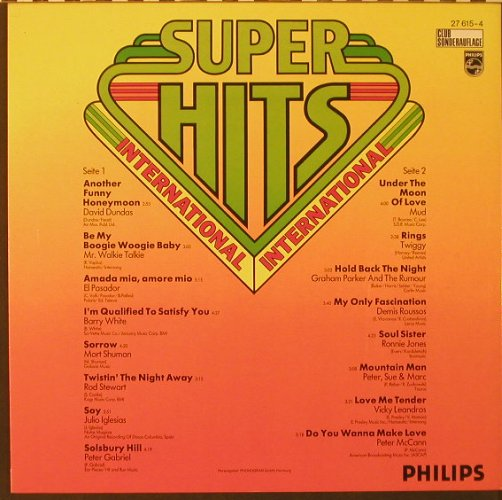 V.A.Super-Hits International: 16 Tr., Club-Ed., Philips(27 615-4), D,  - LP - F4486 - 4,00 Euro
