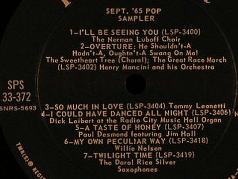 V.A.September '65: Pop Sampler,Promo,No Cover, RCA Victor(SPS 33-372), US, 1965 - LP - F4610 - 6,00 Euro