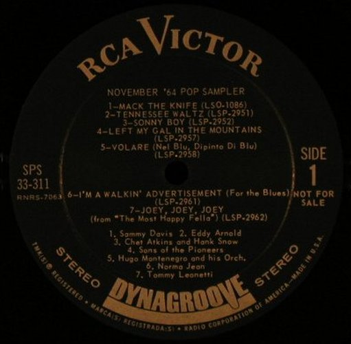 V.A.November '64: Pop Sampler,Promo,No Cover, RCA Victor(SPS 33-311), US, 1964 - LP - F4612 - 7,50 Euro