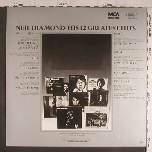 Diamond,Neil: His 12 Greatest Hits, MCA(250 407-1), D,  - LP - F6383 - 6,00 Euro