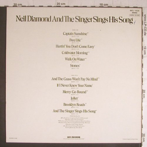 Diamond,Neil: And The Singer Sings his Songs, MCA(MCL 1629), UK, 1976 - LP - F6384 - 5,50 Euro