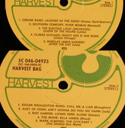 V.A.Harvest Bag: Grease Band...Mark Almond, vg--/--, Harvest(5C 046-04925), UK,NoCover,  - LP - F9456 - 3,00 Euro