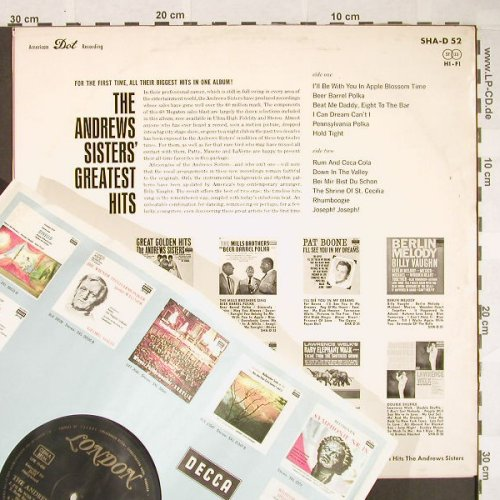 Andrews Sisters: Greatest Hits, London(SHA-D 52), D,  - LP - F9878 - 12,50 Euro