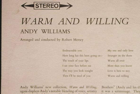 Williams,Andy: Warm and Willing, m-/vg+, CBS(SBPG 62110), UK, 1962 - LP - H1146 - 5,00 Euro