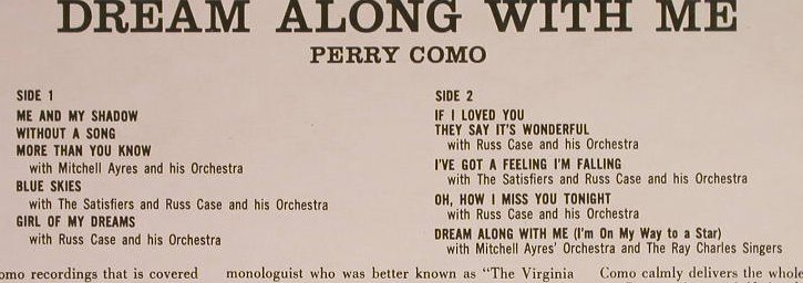 Como,Perry: Dreaming Alone With Me, RCA Camden(CDS 1002), UK, Ri,  - LP - H1147 - 5,00 Euro