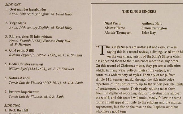 King's Singers: Deck the Hall, Songs for Christmas, EMI(HQS 1308), UK, 1973 - LP - H1360 - 6,00 Euro