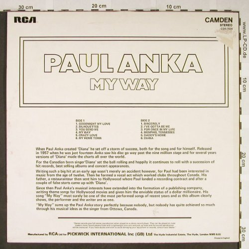 Anka,Paul: My Way, RCA Camden(CDS 1134), UK,  - LP - H2014 - 5,00 Euro