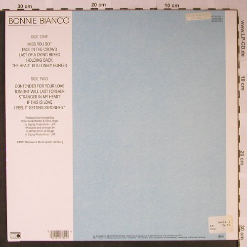 Bianco,Bonnie: Just Me, Metronome(831 702-1), D, 1987 - LP - H2441 - 4,00 Euro