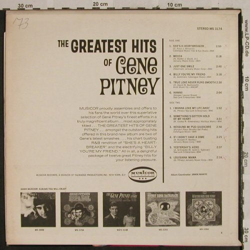 Pitney,Gene: The Greatest Hits of, m-/vg+, woc, Musicor Rec.(MS 3174), US,  - LP - H2776 - 5,50 Euro