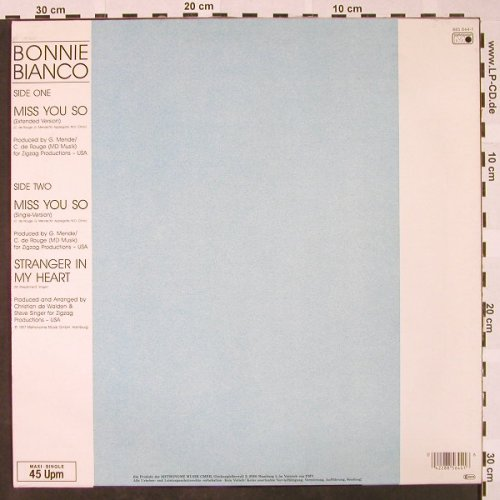 Bianco,Bonnie: Miss You So *2+1, Metronome(885 644), D, 1987 - 12inch - H4326 - 2,00 Euro