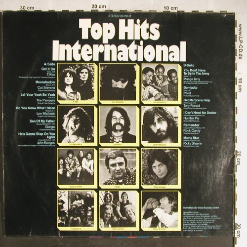 V.A.Top Hits International: T.Rex...Ricky Shane, vg+/vg+, Ariola(85 794 IT), D,  - LP - H5702 - 3,00 Euro