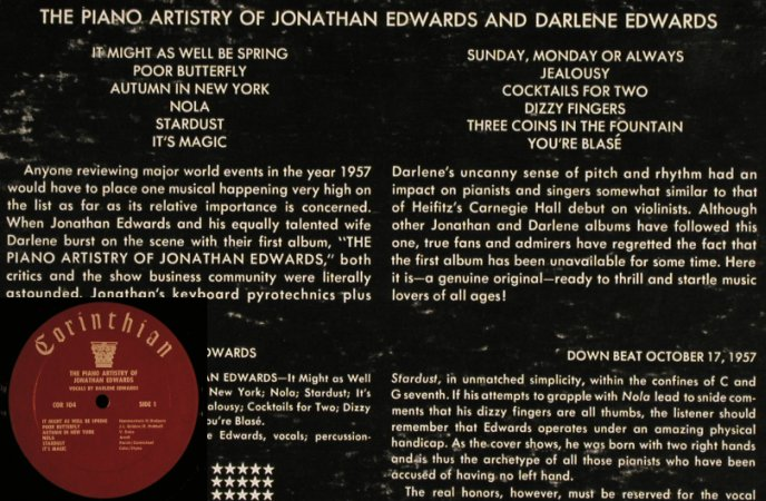 Edwards,Jonathan / Darlene Edwards: The Orign. Piano Artistry, m-/vg+, Corinthian(COR-104), US,  - LP - H6745 - 7,50 Euro