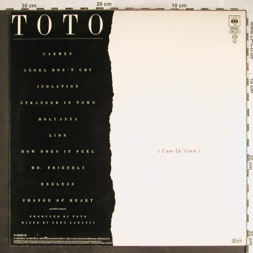 Toto: Isolation, CBS(CBS 86305), NL, 1984 - LP - H7012 - 5,00 Euro