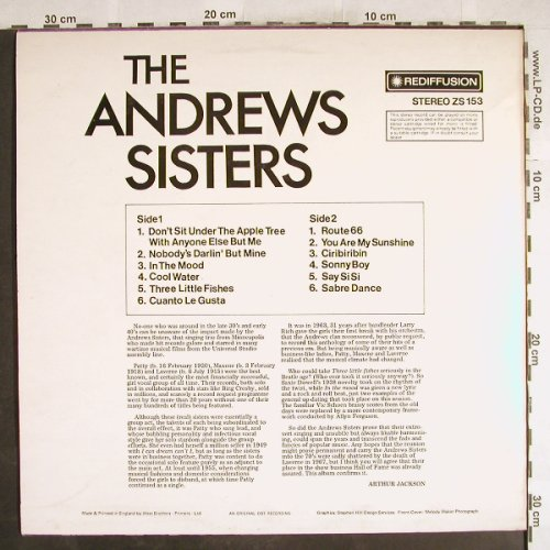 Andrews Sisters: Same, Rediffusion(ZS 153), UK, 1973 - LP - H7357 - 5,50 Euro