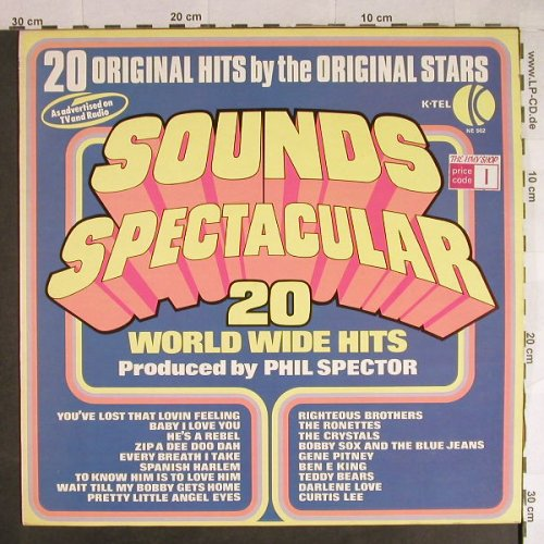 V.A.Sounds Spectacular-20 World: Wide Hits  prod. By Phil Spector, K-tel(NE 502), UK, 1974 - LP - H735 - 6,00 Euro