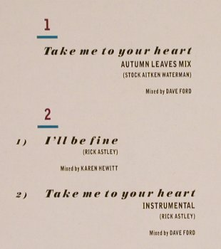 Astley,Rick: Take Me To Your Heart*2+1, RCA(PT 42574), D, 1988 - 12inch - H7381 - 2,00 Euro