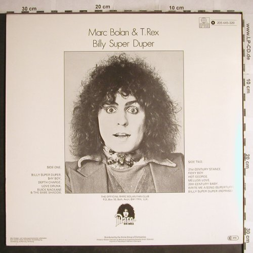 Bolan,Marc & T.Rex: Billy Super Duper, Ariola(205 445-320), D, 1982 - LP - H7541 - 7,50 Euro