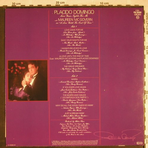 Domingo,Placido: Save your Nights for Me, m-/vg+, CBS(FM 39866), NL, 1985 - LP - H7963 - 3,00 Euro