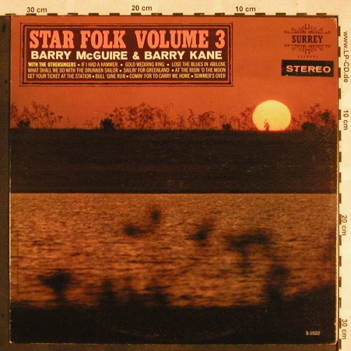 Mc Guire,Barry & Barry Kane: Star Folk Volume 3, Surrey(SS 1020), US,  - LP - X1100 - 12,50 Euro