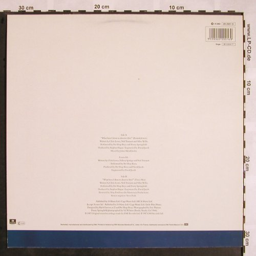 Pet Shop Boys with D.Sprigfield: What Have I Done t.Deserve This*2+1, Parlophone(20 2001 6), NL, 1987 - 12inch - X1186 - 4,00 Euro