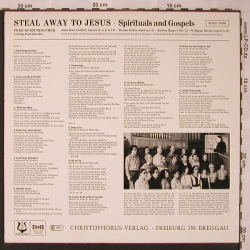 Fred-Schechter-Choir: Steal away to Jesus, m-/vg+, Christophorus(SCGLU 73 880), D,  - LP - X2034 - 5,00 Euro
