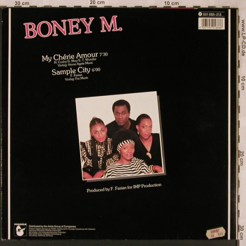 Boney M.: My Cherie Amour/Sample City,sp.ext., Hansa(601 686-213), D, 1985 - 12inch - X2297 - 4,00 Euro