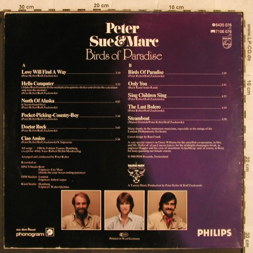 Peter,Sue & Marc: Birds Of Paradise, Philips(6435 076), D, 1980 - LP - X24 - 4,00 Euro
