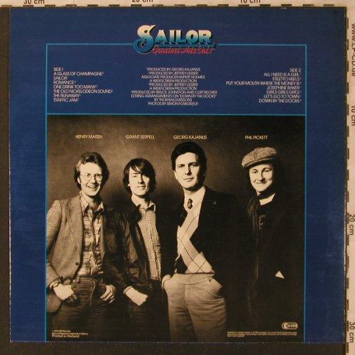 Sailor: Greatest Hits Vol.1, Epic(EPC 82754), NL, 1978 - LP - X3001 - 5,00 Euro