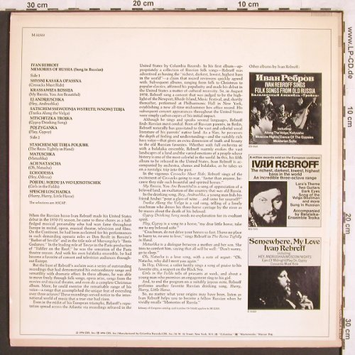 Rebroff,Ivan: Memories of Russia, Columbia(M 32503), US,  - LP - X3169 - 7,50 Euro