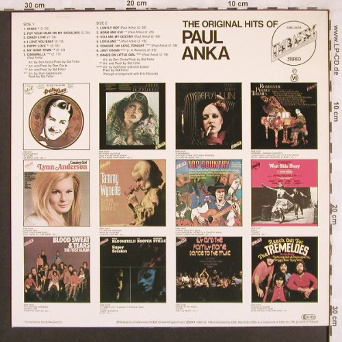 Anka,Paul: The Original Hits Of, Embassy(EMB 31054), NL, 1974 - LP - X3387 - 4,00 Euro
