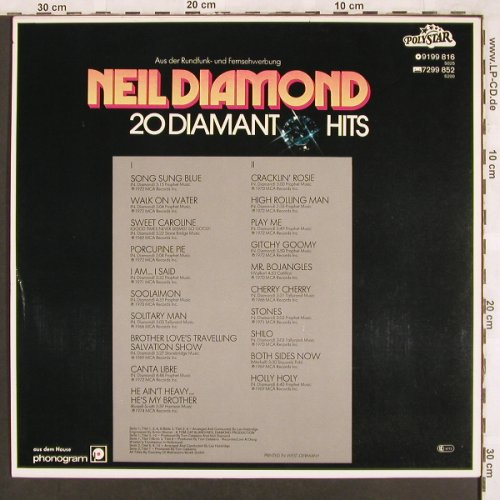 Diamond,Neil: 20 Diamant Hits, Polystar(9199 816), D,  - LP - X3390 - 4,00 Euro