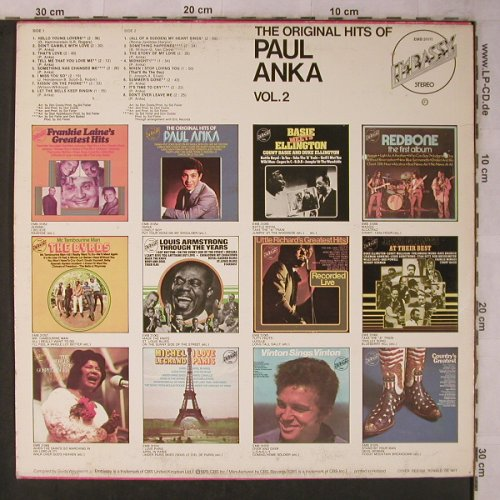 Anka,Paul: The Original Hits Of, Vol.2, Embassy(EMB 31111), NL, m-/vg+, 1975 - LP - X5669 - 5,00 Euro