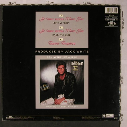 Hasselhoff,David: Je T'aime means I love you*2+1, White Records(613 234), D, 1990 - 12inch - X5678 - 17,00 Euro