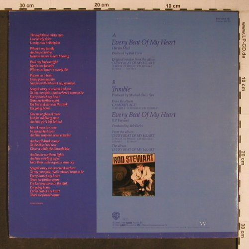 Stewart,Rod: Every Beat Of My Heart(Tartan Mix), WEA(920 511-1), D+Poster, 1986 - 12inch - X6732 - 6,00 Euro