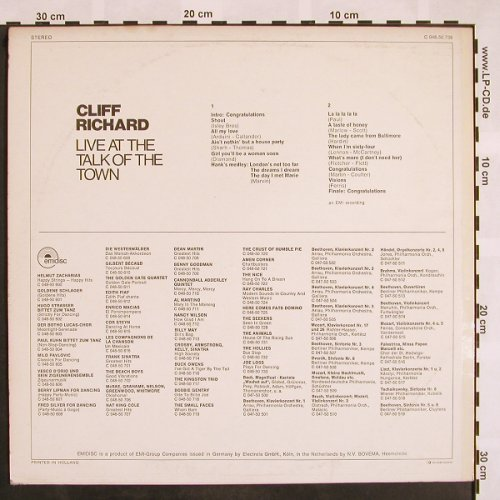 Richard,Cliff: Live At Talk Of The Town, EMI(C 048-50 738), , 1970 - LP - X848 - 6,00 Euro