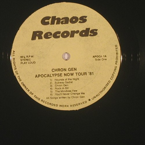 Chron Gen: Live On Apocalypse Now Tour 81, Chaos(APOCA 1), UK,  - LP - B4159 - 40,00 Euro